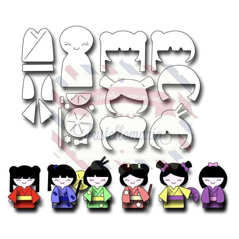 Fustella metallica Kokeshi Japanese Paper Doll